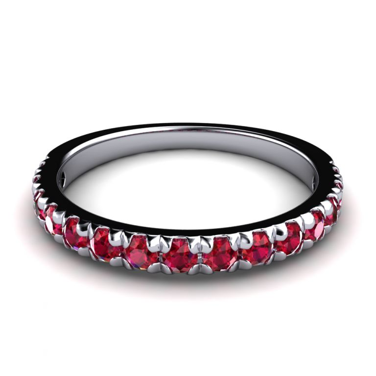 Diamond ring  half eternity 18k white gold rubies ct. 0.60 total (made in Italy)